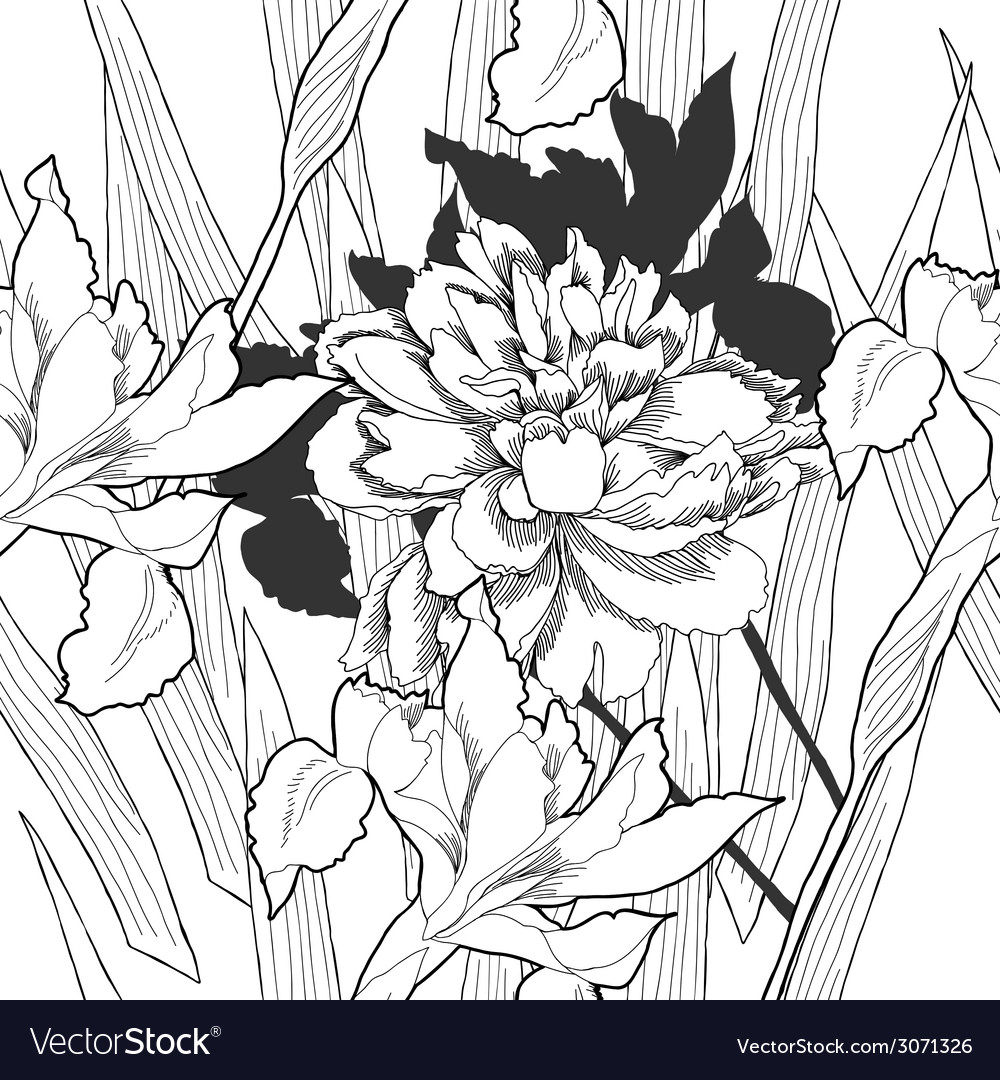 Black and white seamless pattern with flowers-08 vector | Price: 1 Credit (USD $1)