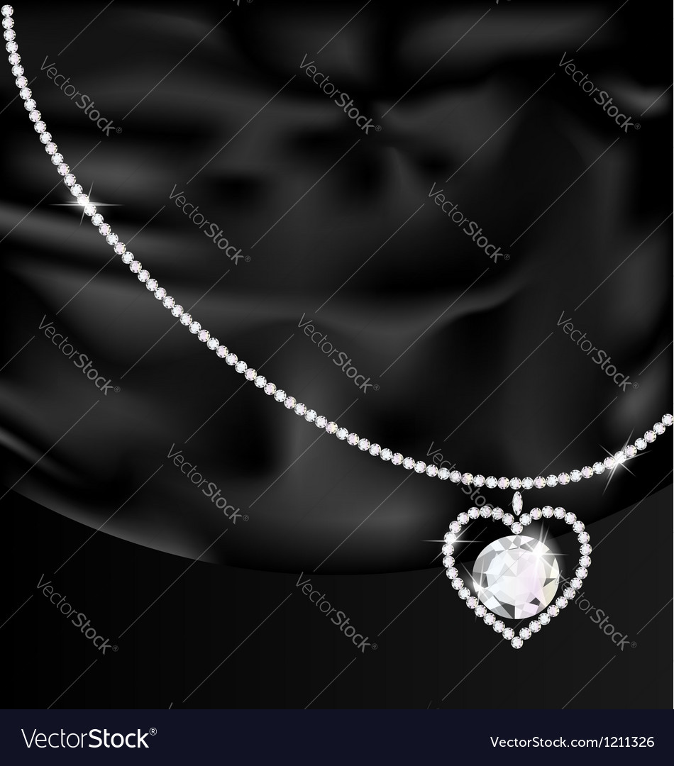 Black silk and jewel heart vector