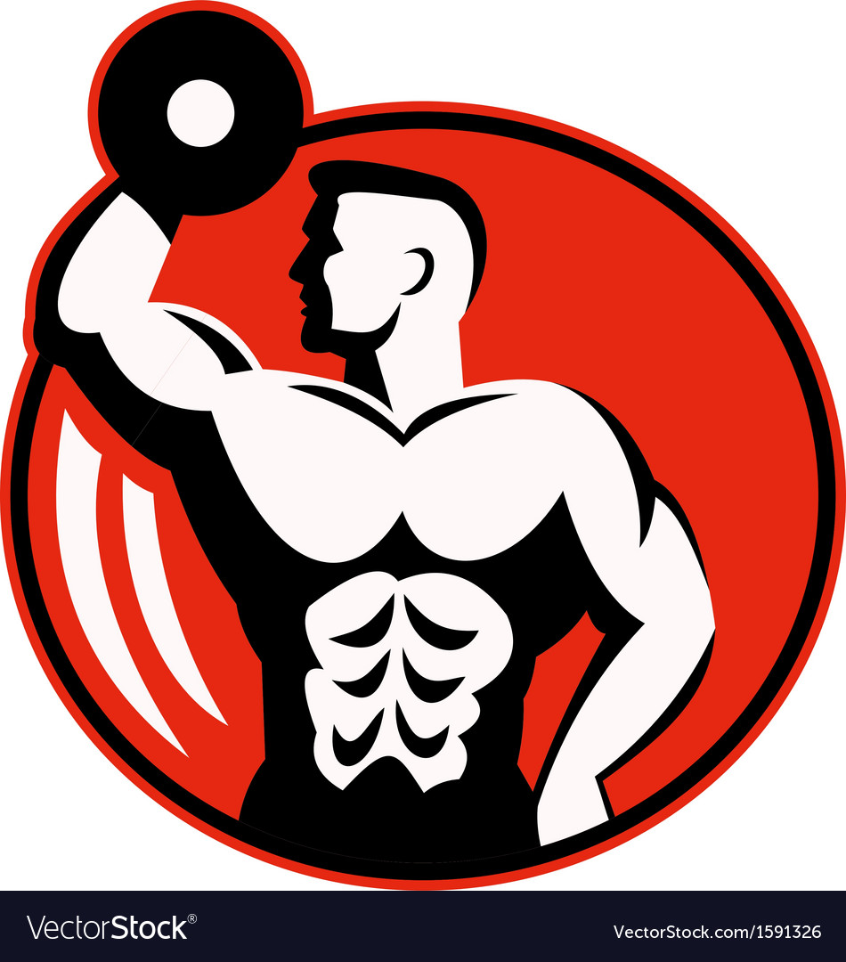 Body builder lifting a dumbbell vector | Price: 1 Credit (USD $1)