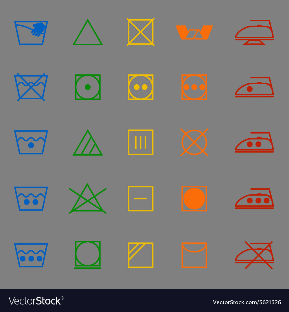 Fabric care sign and symbol color icons vector | Price: 1 Credit (USD $1)