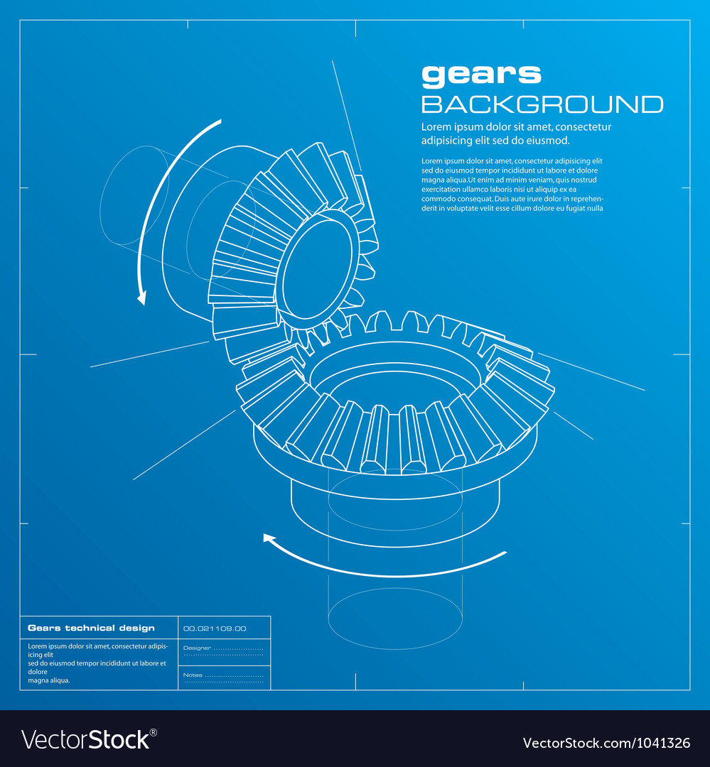 Gears blueprint background vector | Price: 1 Credit (USD $1)