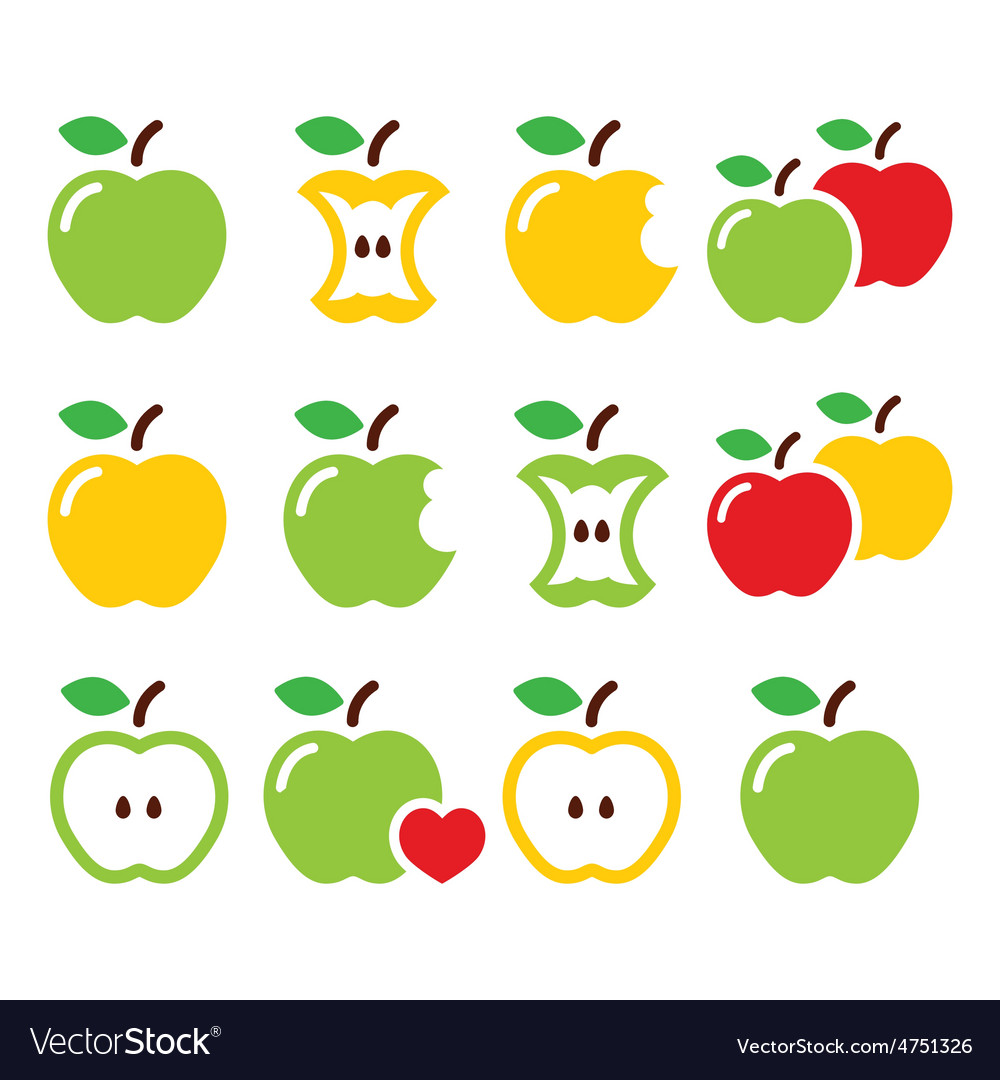 Green and yellow apple apple core bitten half vector | Price: 1 Credit (USD $1)