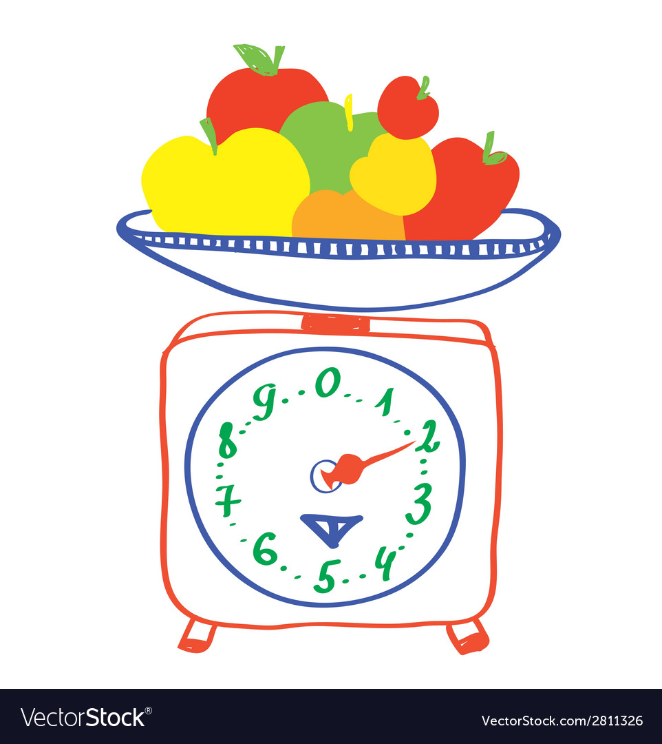Healthy eating - scales with apples vector | Price: 1 Credit (USD $1)