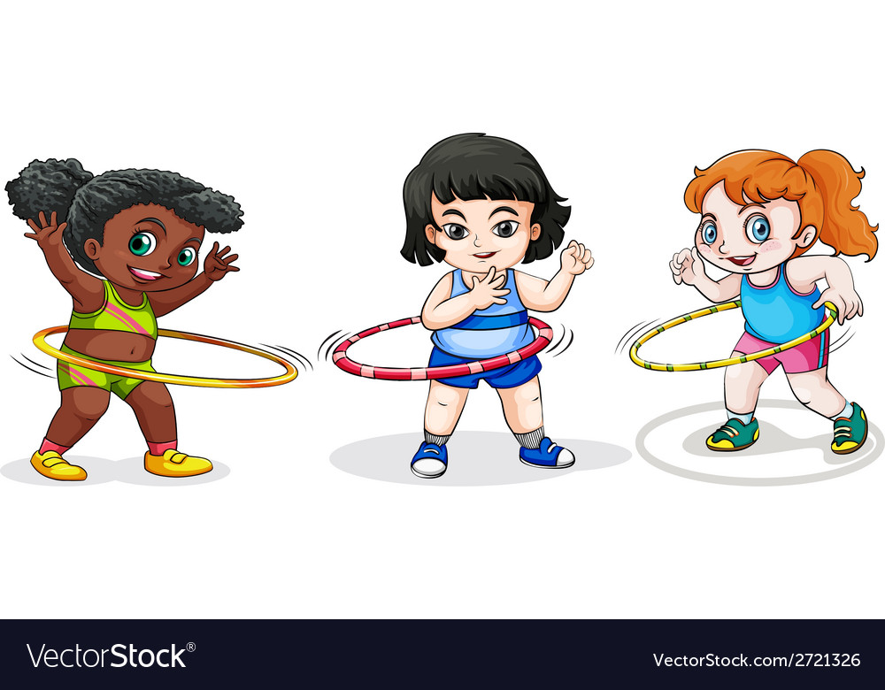 Kids playing with the hulahoop vector | Price: 1 Credit (USD $1)