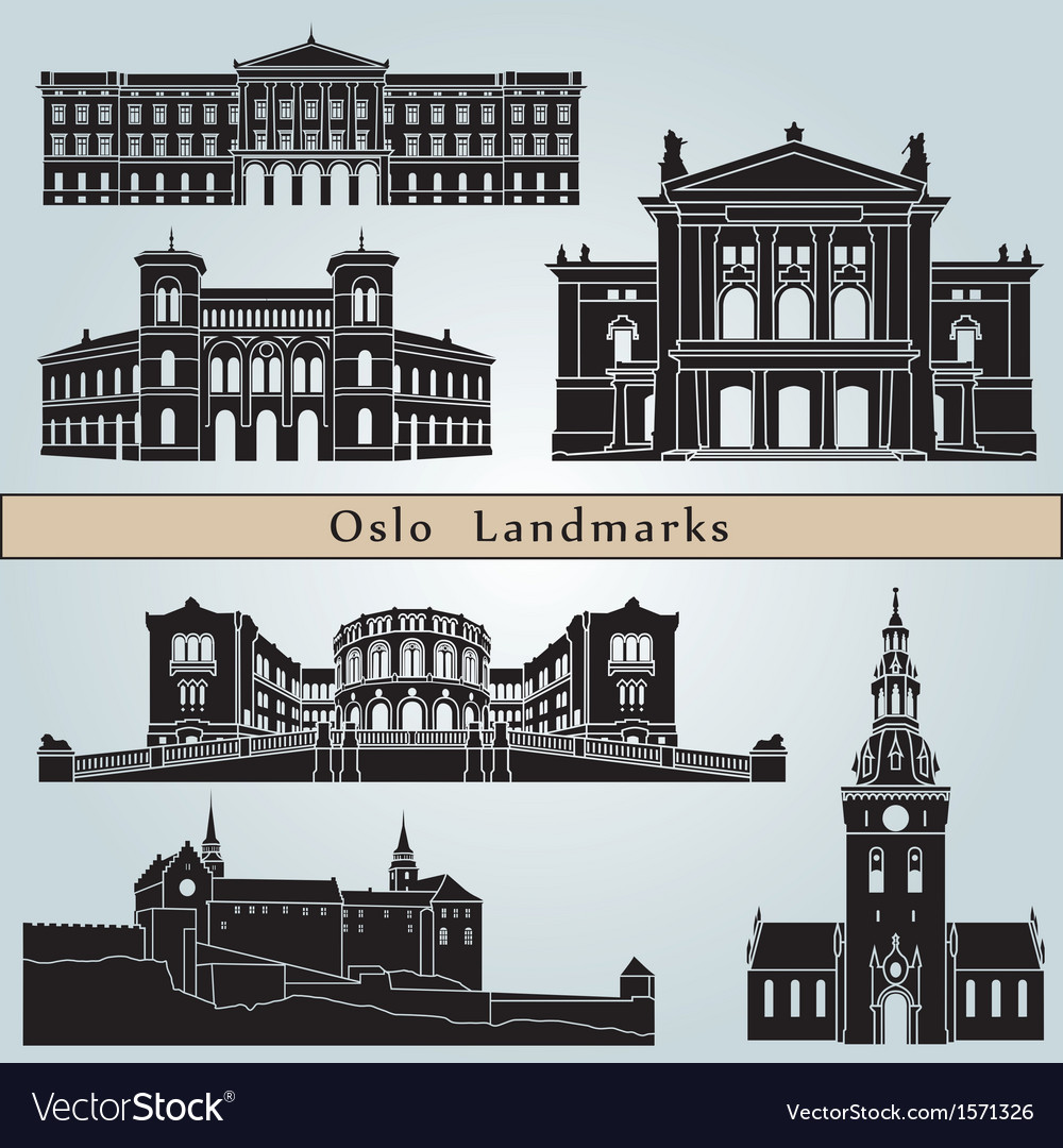 Oslo landmarks and monuments vector | Price: 1 Credit (USD $1)
