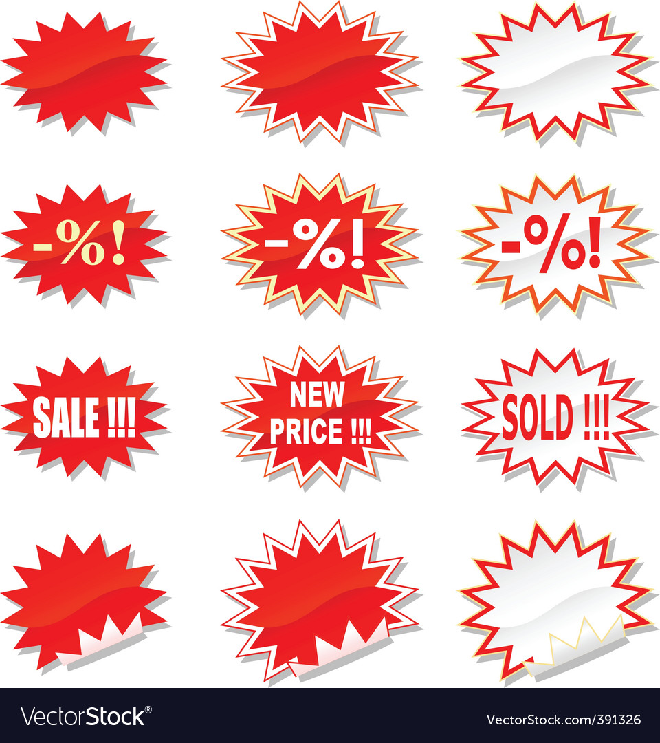Sale stickers set vector | Price: 1 Credit (USD $1)
