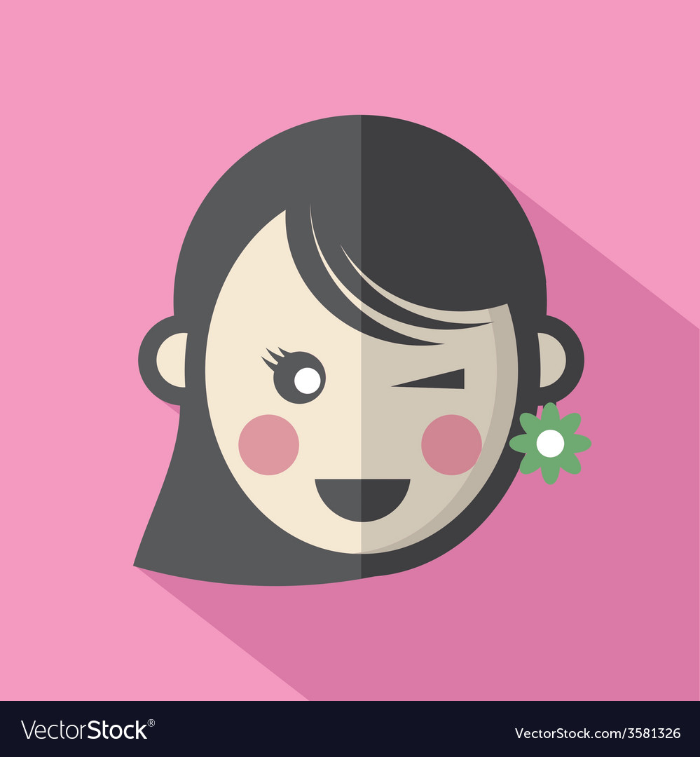 Single womans face flat design icon vector   Price: 1 Credit (USD $1)