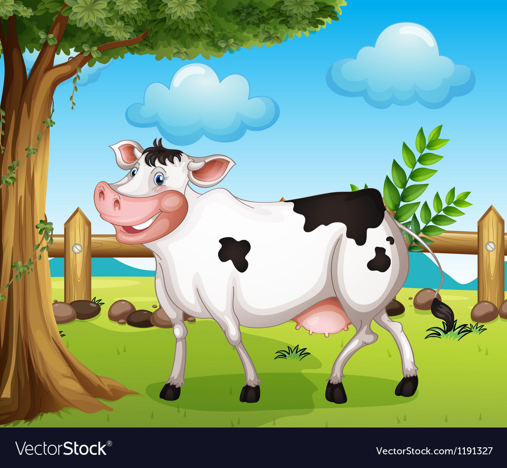 A cow in the backyard vector | Price: 1 Credit (USD $1)
