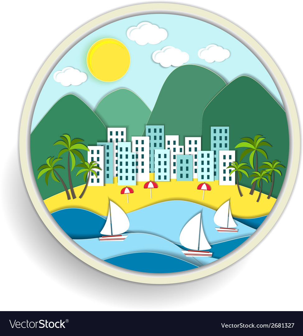 Badge depicting holidays at the sea vector | Price: 1 Credit (USD $1)