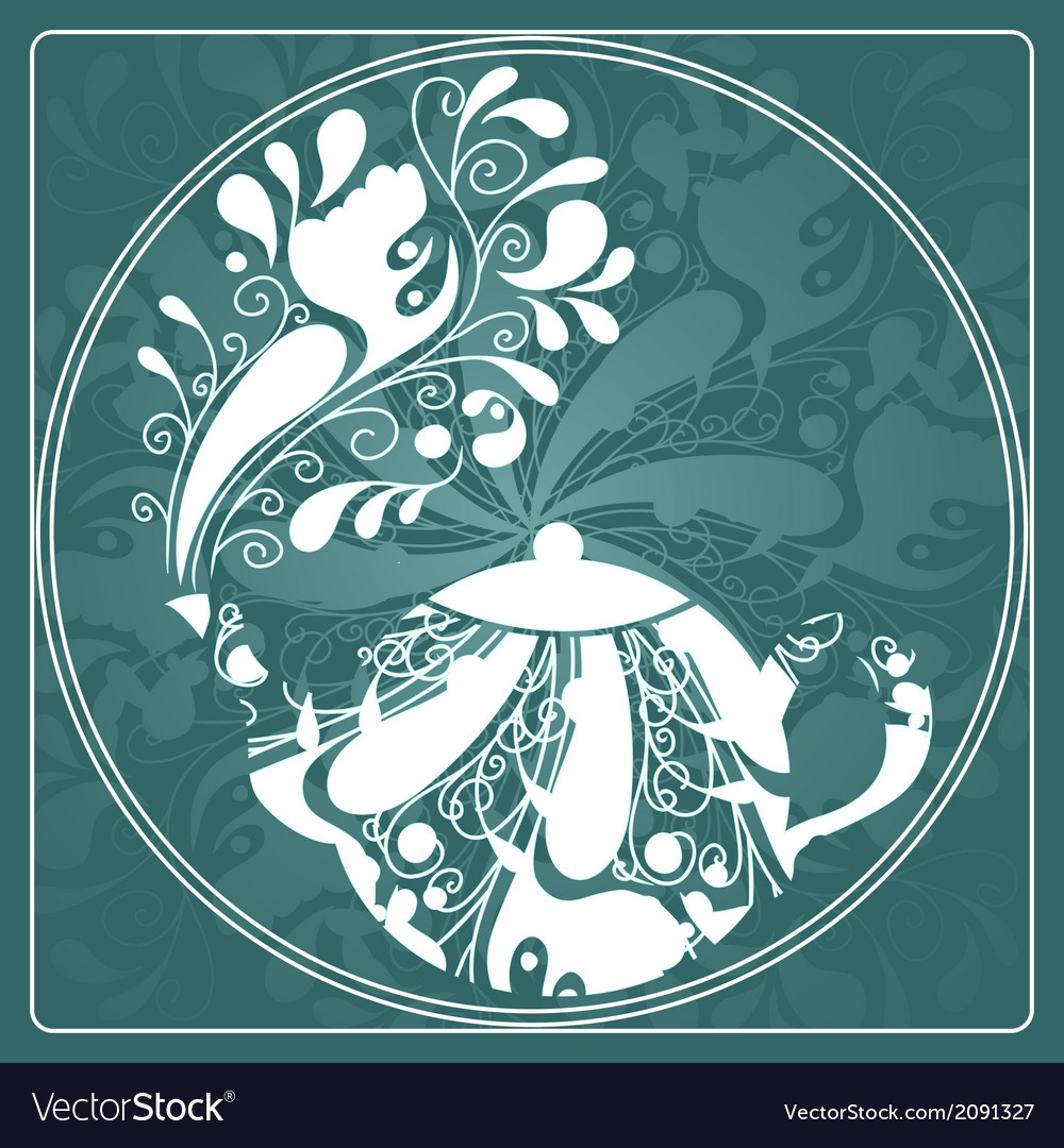 Floral tea vector | Price: 1 Credit (USD $1)