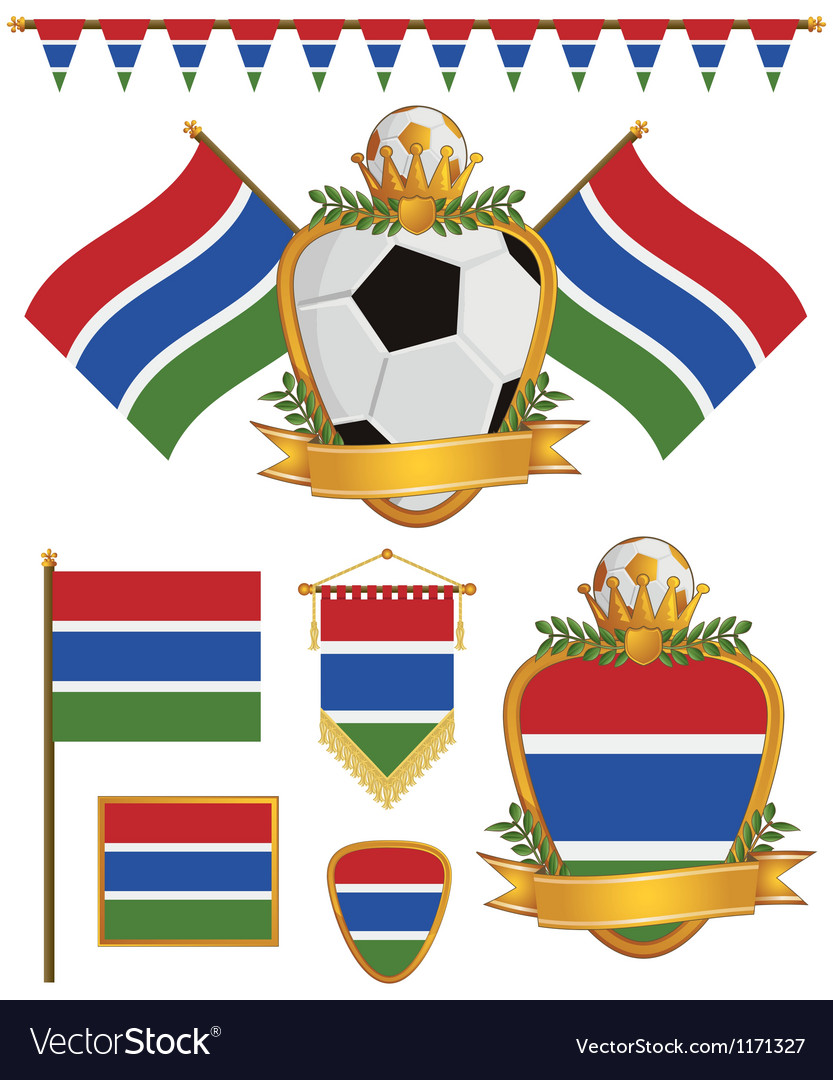 Gambia flags vector | Price: 1 Credit (USD $1)