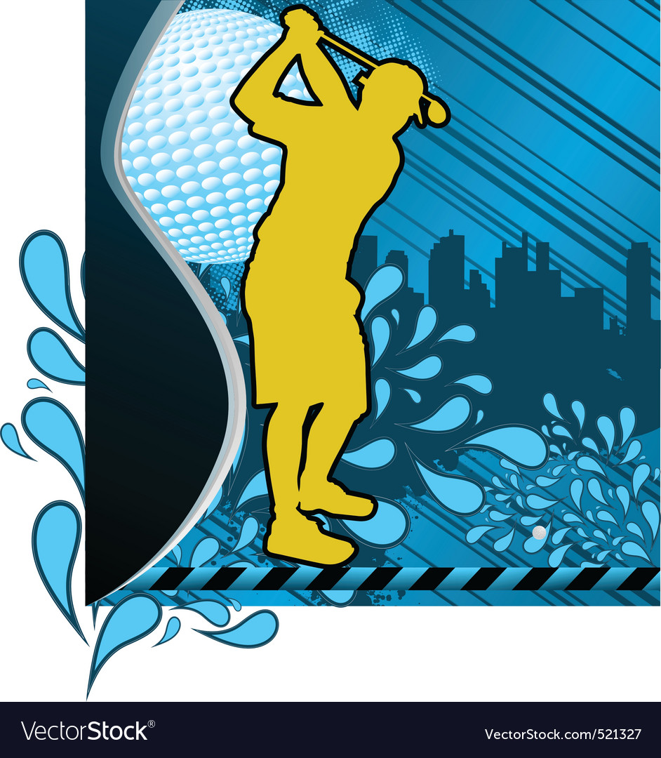Golf urban grunge poster with player silhouette vector | Price: 1 Credit (USD $1)