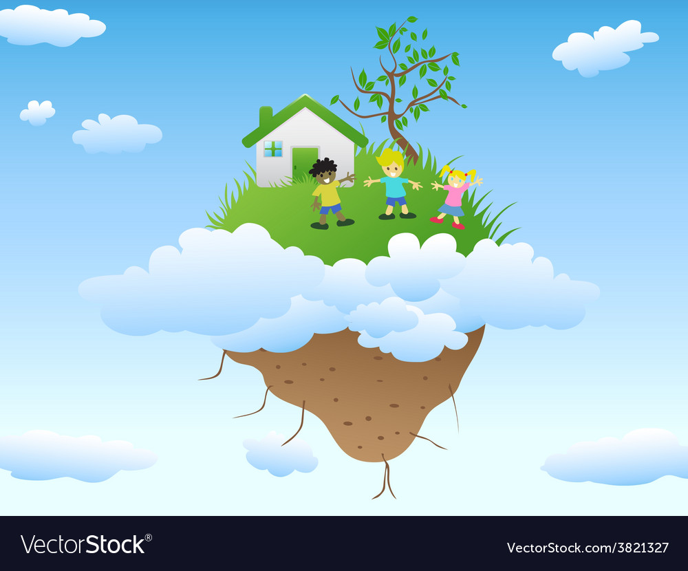 House on floating island vector | Price: 1 Credit (USD $1)