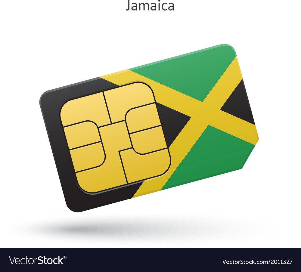 Jamaica mobile phone sim card with flag vector | Price: 1 Credit (USD $1)