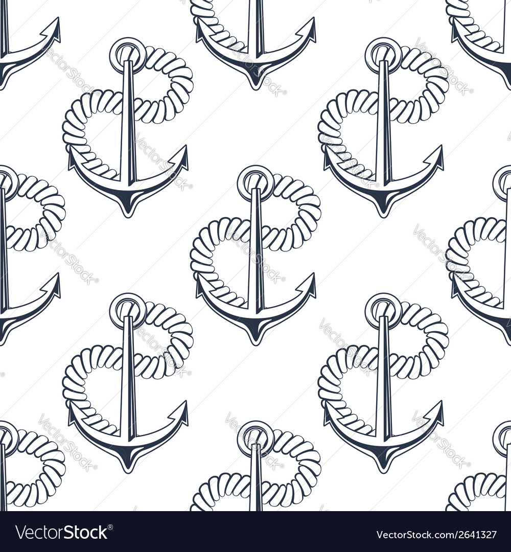 Marine anchor with curling rope vector | Price: 1 Credit (USD $1)