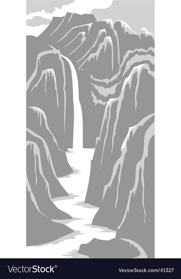 Mountains and river vector | Price: 1 Credit (USD $1)