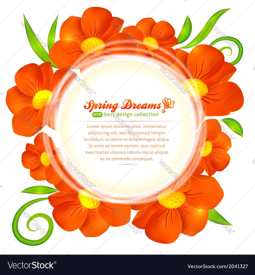 Orange flowers circle frame vector | Price: 1 Credit (USD $1)