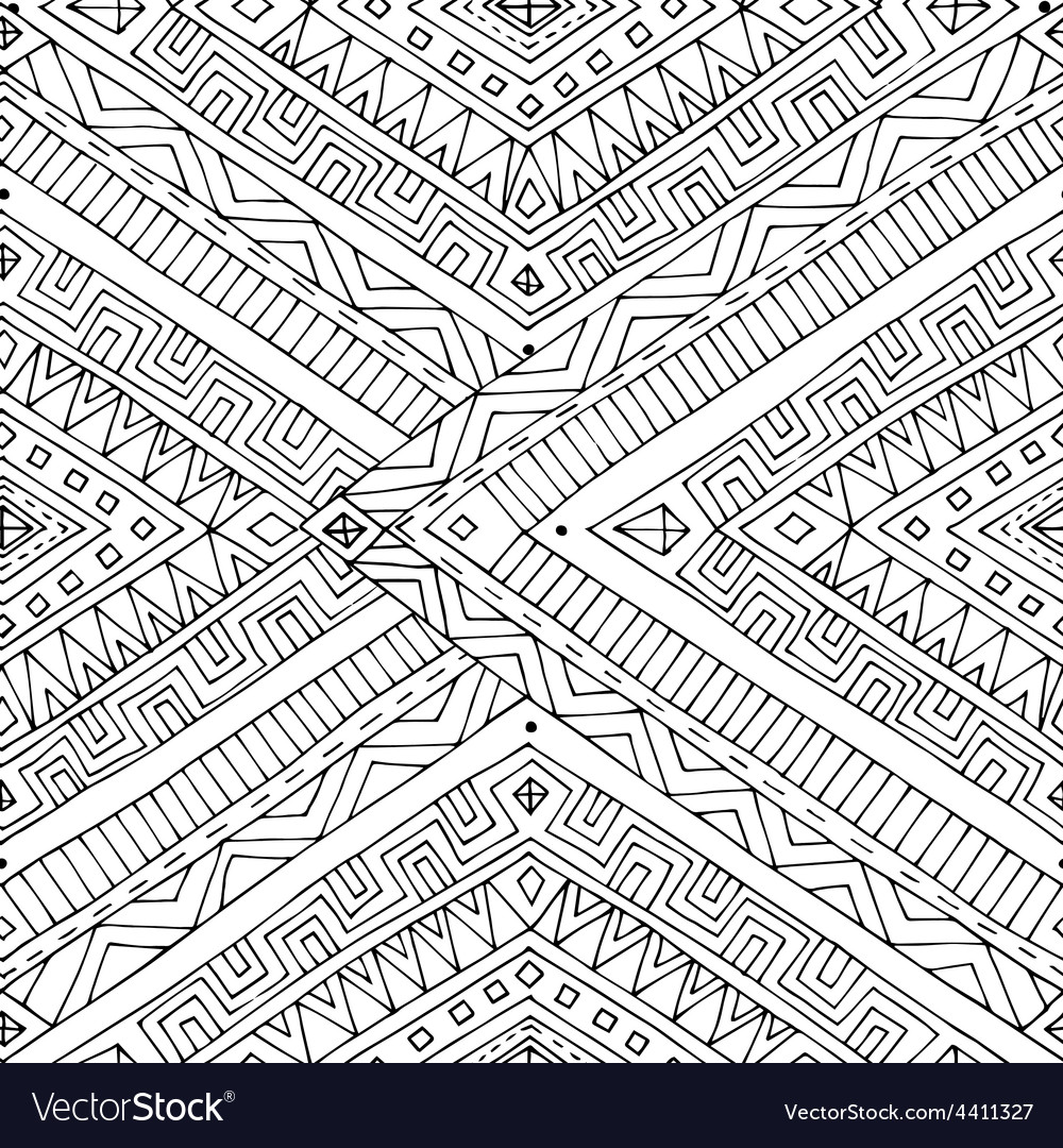 Seamless asian ethnic doodle black white pattern vector | Price: 1 Credit (USD $1)