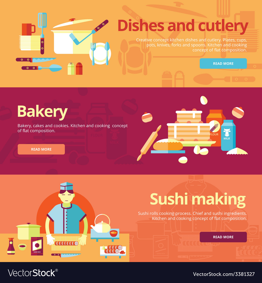 Set of flat design concepts for dishes and cuisine vector | Price: 1 Credit (USD $1)