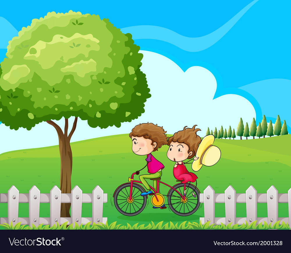 A boy biking with his girlfriend vector | Price: 3 Credit (USD $3)