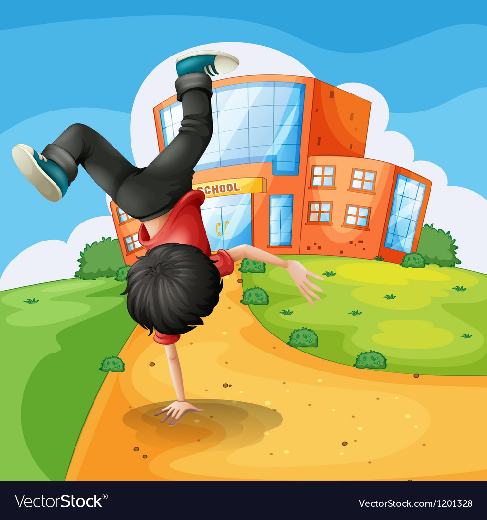A boy doing breakdance along the school vector | Price: 1 Credit (USD $1)