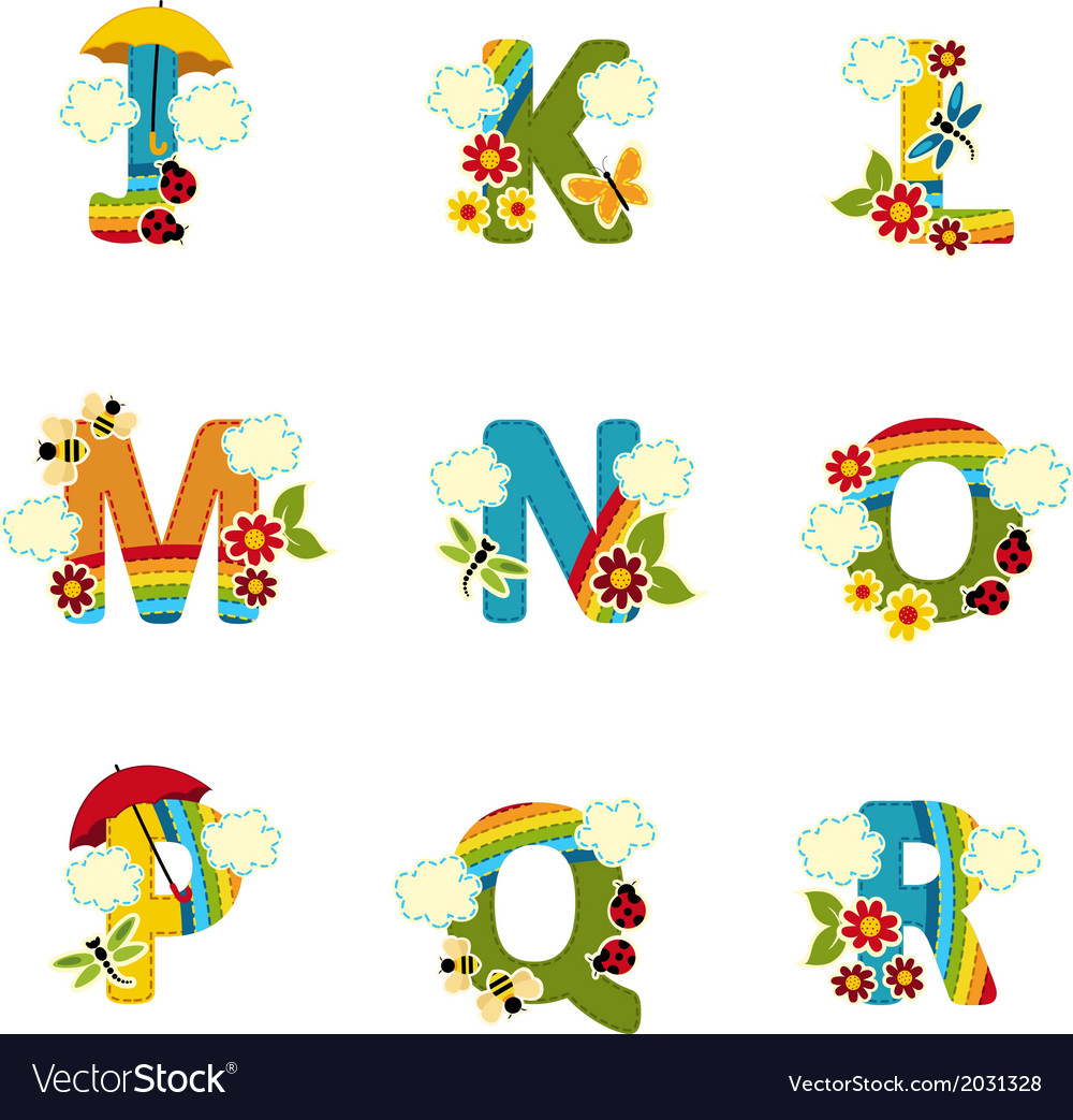 Alphabet rainbow from j to r vector   Price: 1 Credit (USD $1)