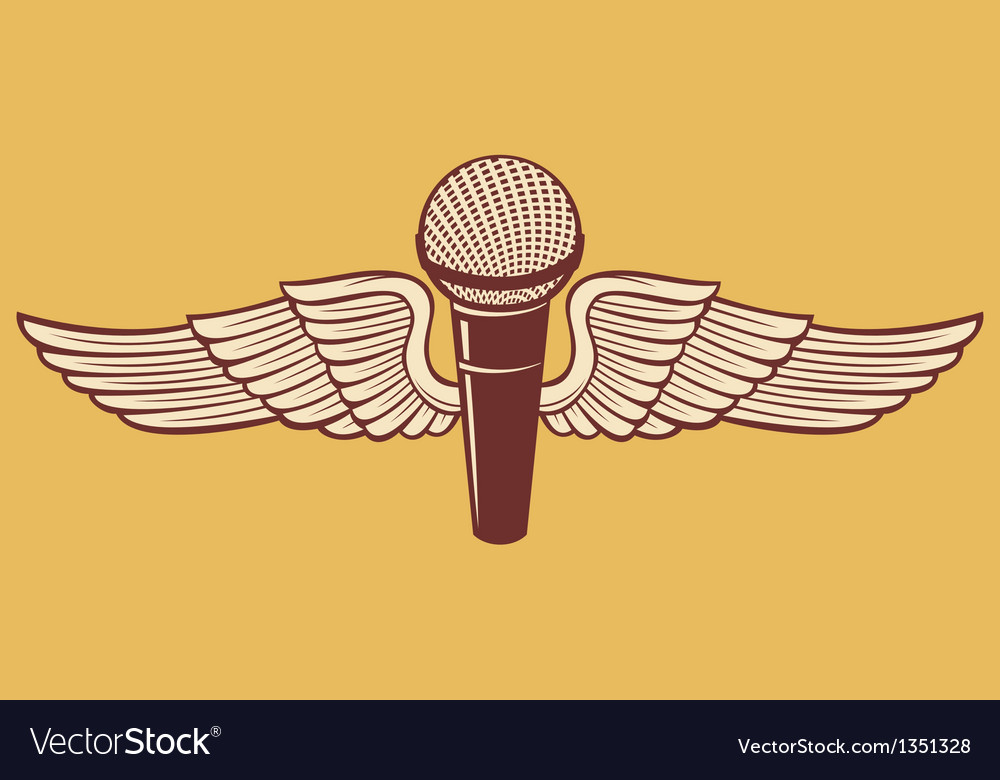 Classic microphone with wings vector | Price: 1 Credit (USD $1)