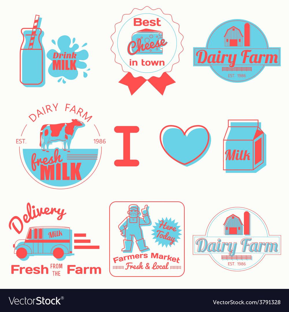Dairy badges color vector | Price: 1 Credit (USD $1)