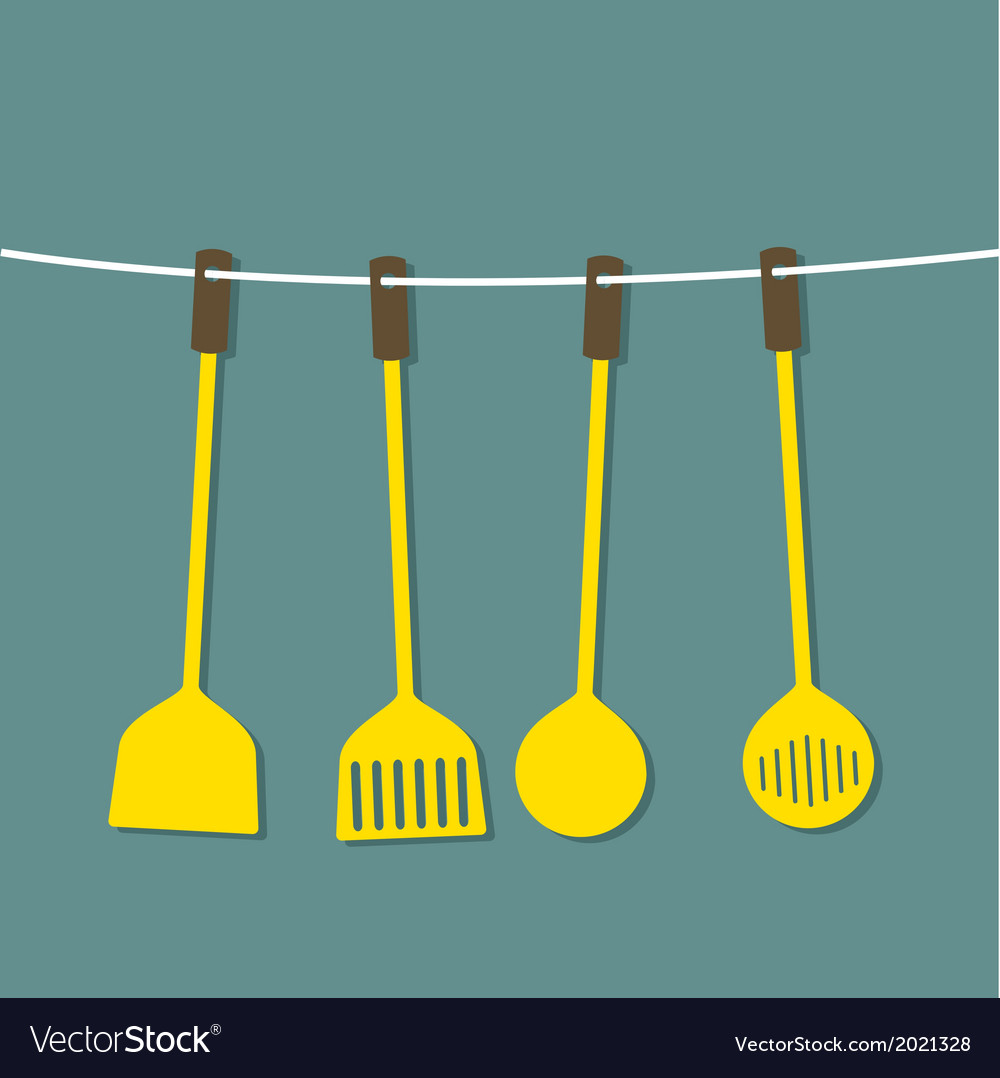 Flat design set of utensils hang on a rope vector | Price: 1 Credit (USD $1)