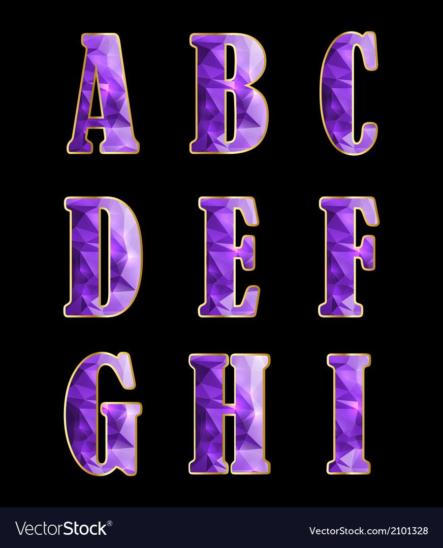 Golden alphabet with crystals vector | Price: 1 Credit (USD $1)