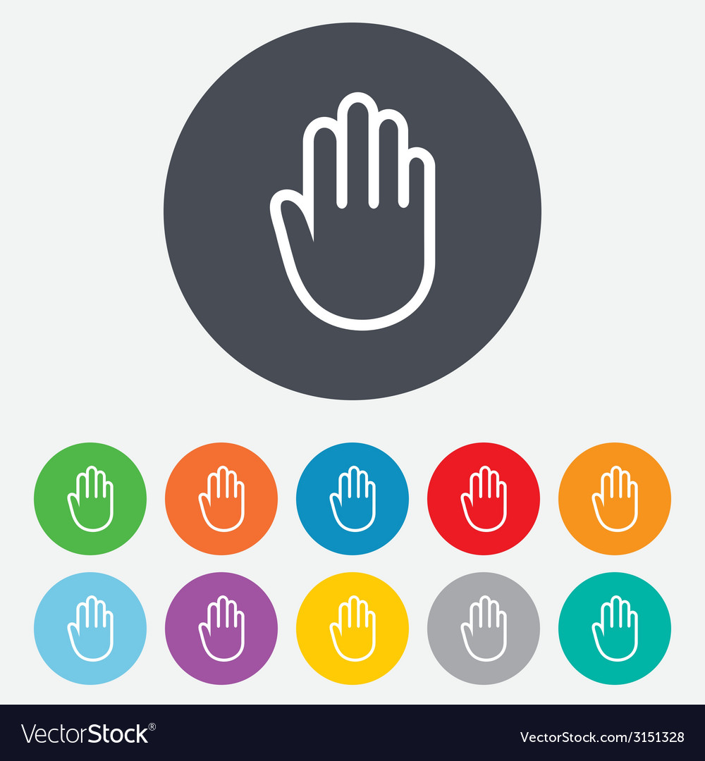 Hand sign icon no entry or stop symbol vector | Price: 1 Credit (USD $1)