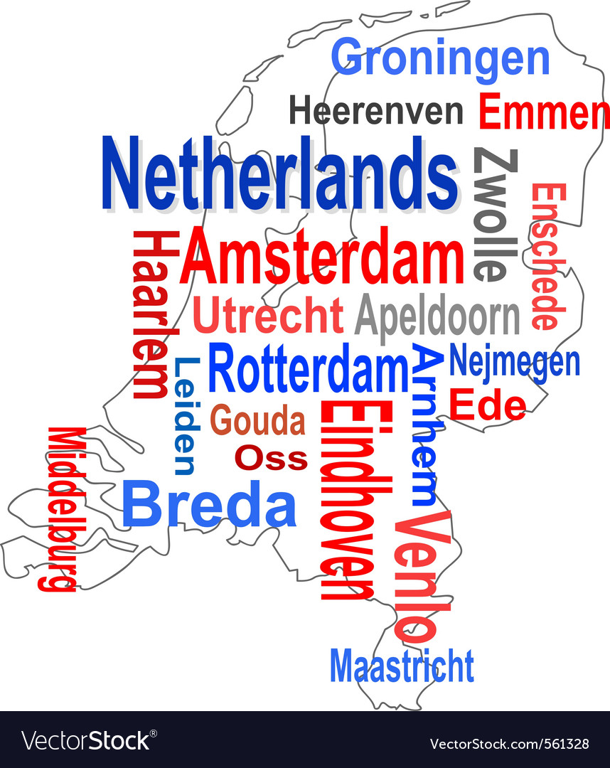 Holland map vector | Price: 1 Credit (USD $1)