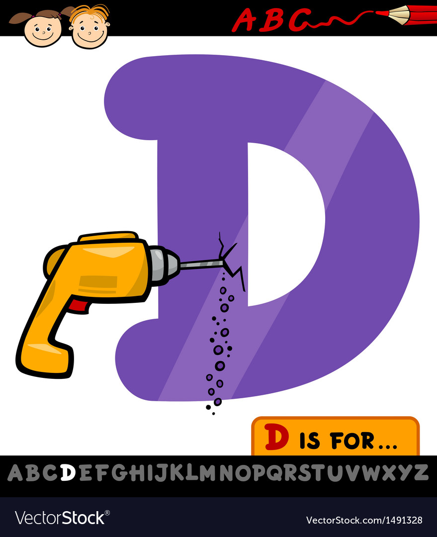 Letter d with drill cartoon vector | Price: 1 Credit (USD $1)
