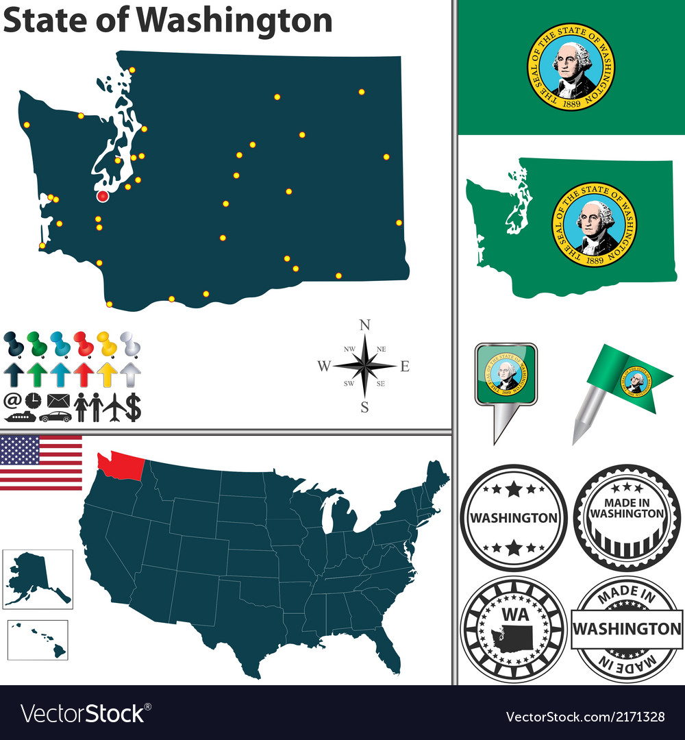 Map of washington vector | Price: 1 Credit (USD $1)
