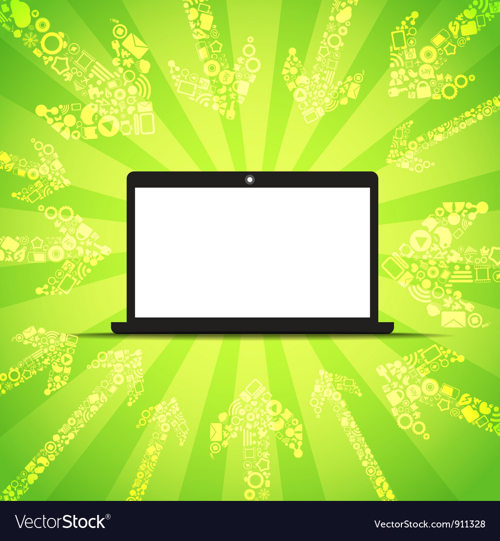 Media content goes to modern laptop vector | Price: 1 Credit (USD $1)