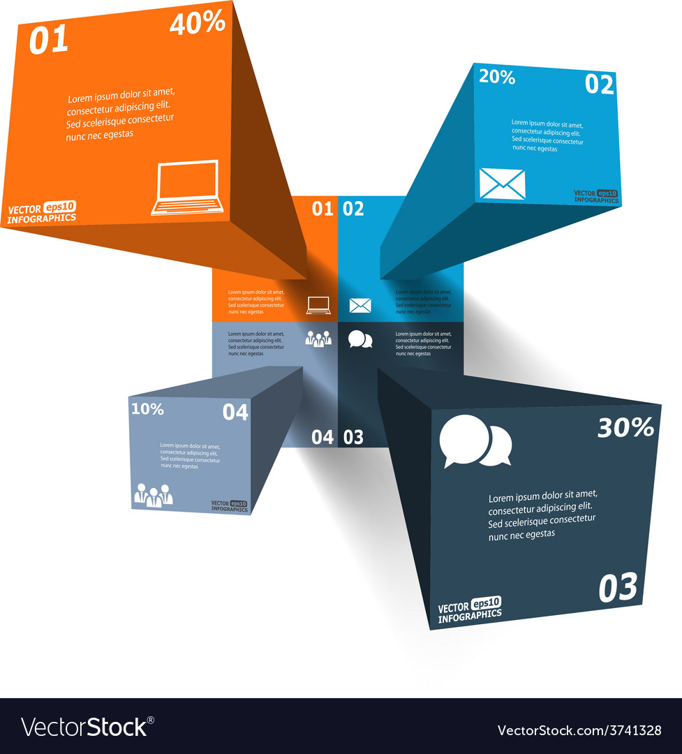 Modern 3d infographics for web banners mobile vector | Price: 1 Credit (USD $1)