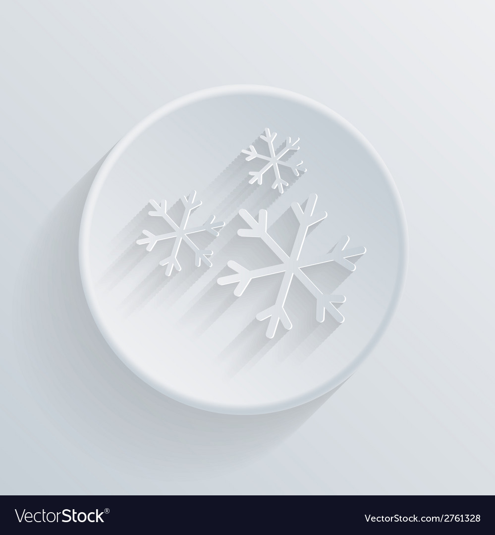 Paper circle flat icon snow vector | Price: 1 Credit (USD $1)