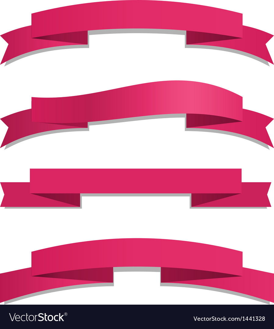Pink ribbon set vector | Price: 1 Credit (USD $1)