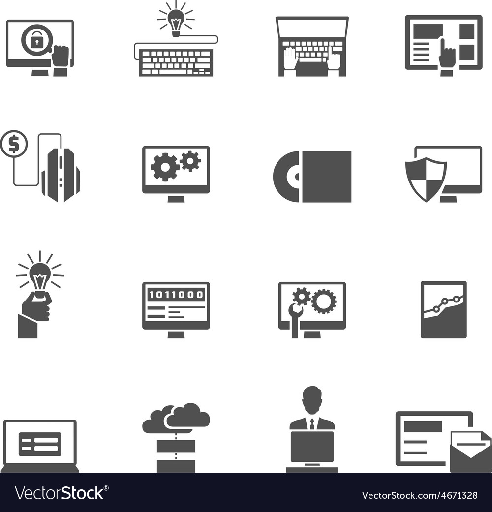 Program development icons black vector | Price: 1 Credit (USD $1)