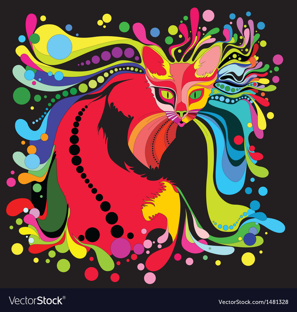 Psychedelic cat vector | Price: 1 Credit (USD $1)