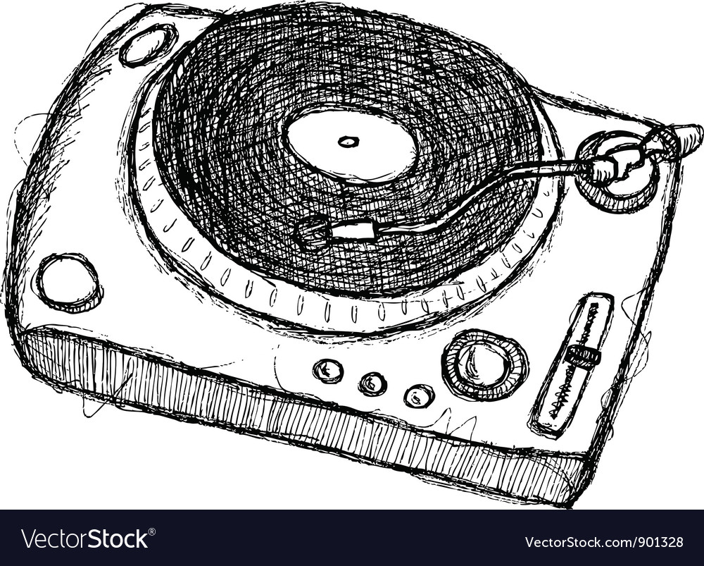 Scribble series - turntable vector | Price: 1 Credit (USD $1)
