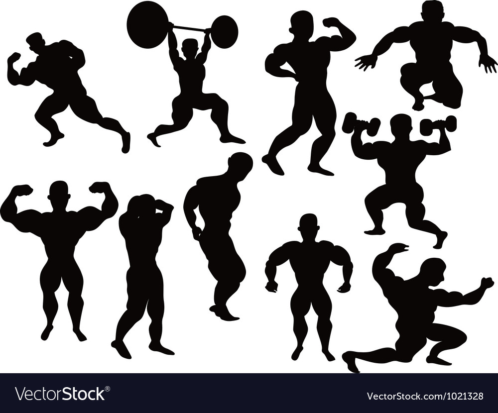 Silhouette of bodybuilder vector | Price: 1 Credit (USD $1)