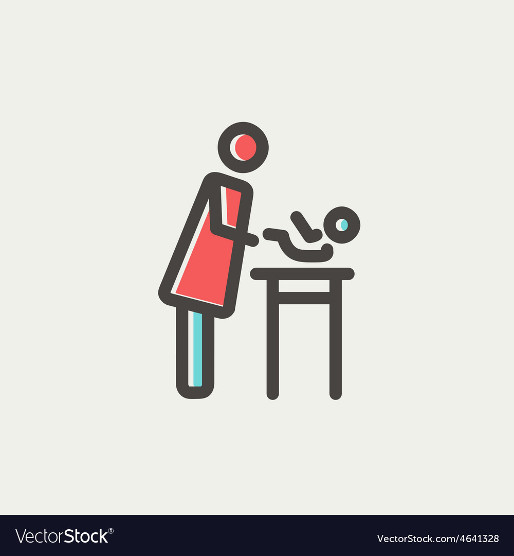 Woman changing the baby diaper thin line icon vector | Price: 1 Credit (USD $1)