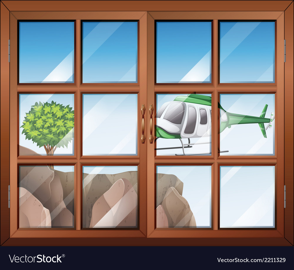 A closed window with a view of the helicopter vector | Price: 1 Credit (USD $1)