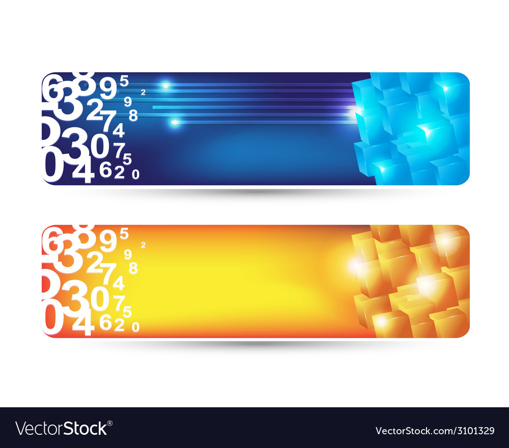 Abstract banner with numbers and cubes shape vector | Price: 1 Credit (USD $1)