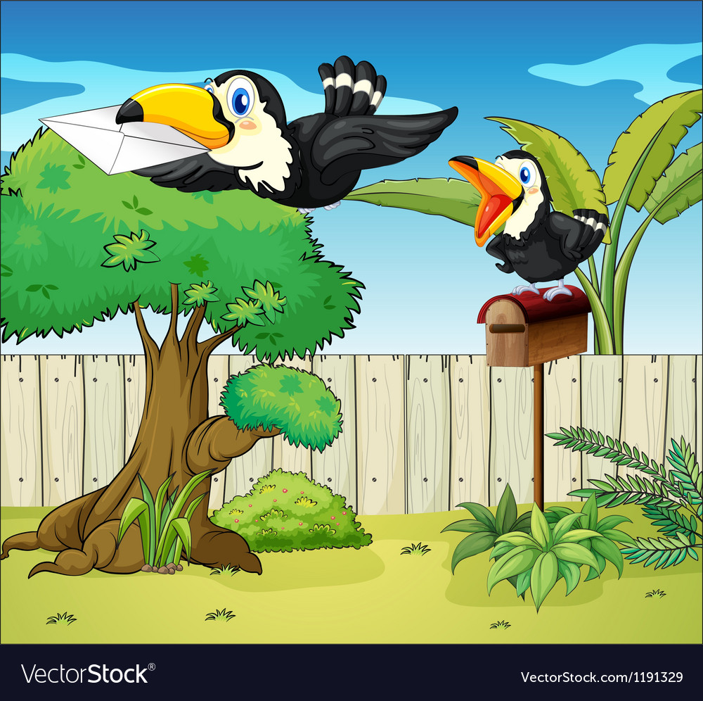 Birds at the backyard vector | Price: 1 Credit (USD $1)