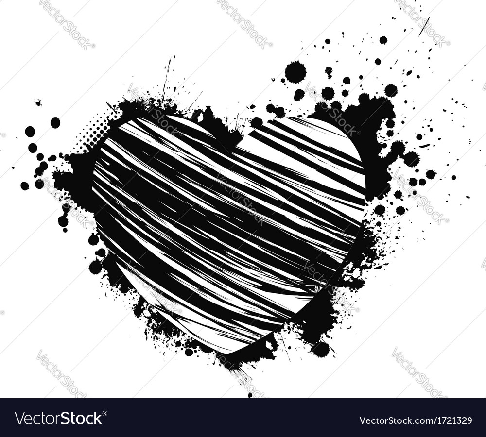 Black grunge heart vector | Price: 1 Credit (USD $1)