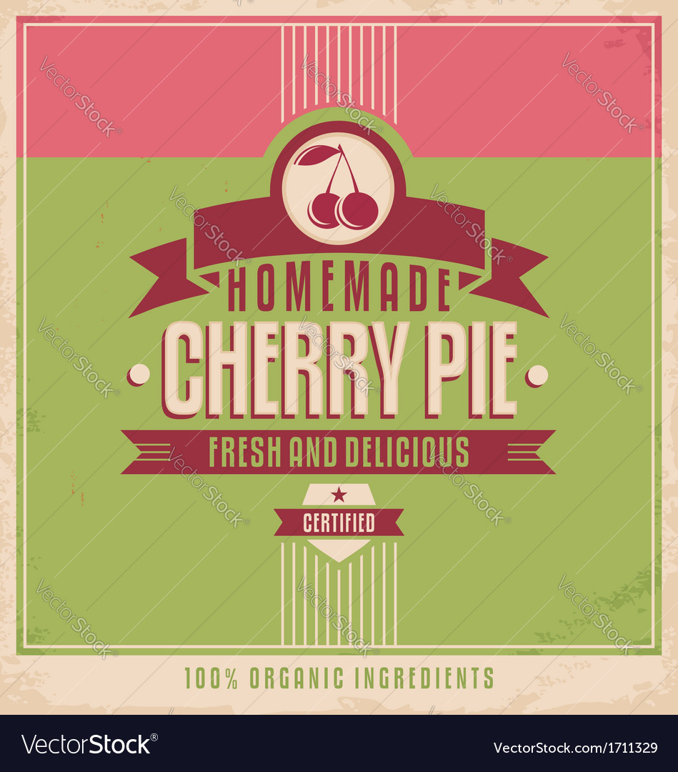Cherry pie vintage poster vector | Price: 1 Credit (USD $1)