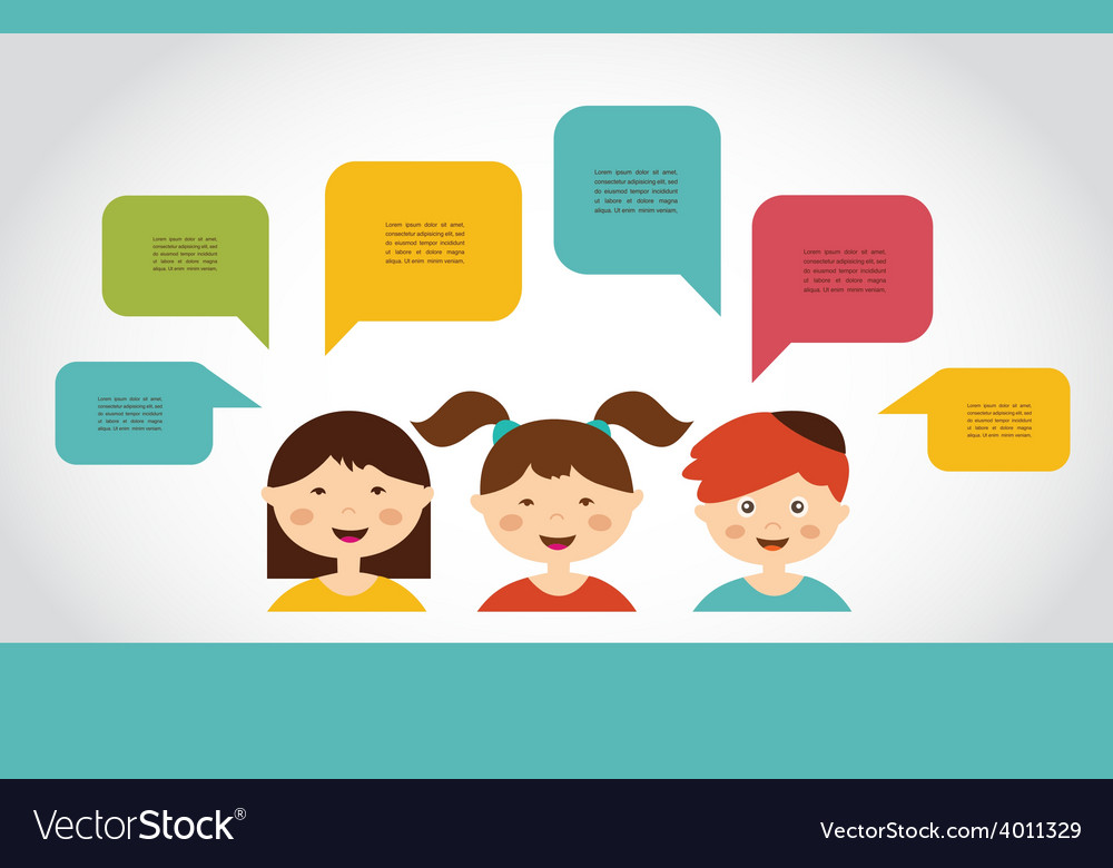 Cute kids with speech bubbles vector   Price: 1 Credit (USD $1)