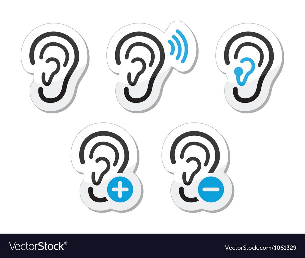 Ear hearing aid deaf problem icons set as labels vector | Price: 1 Credit (USD $1)